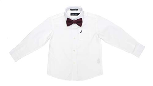 Nautica Boys' Little Long Sleeve Dress Shirt With Bow Tie, White, 7