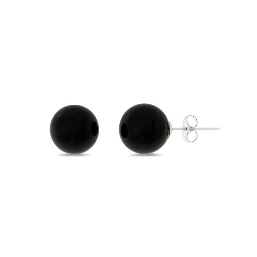 - .925 Sterling Silver Genuine Natural 8 mm. Black Onyx Round Shaped Stud Earrings