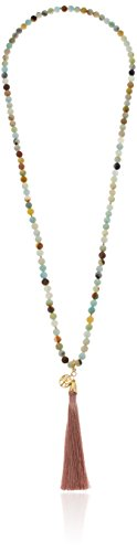 Genuine Quartz Bead with 18k Yellow Gold Plated Sterling Silver Tree of Life Charm and Pink Tassel Long Necklace, 30