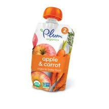 6 Pouches Plum Organics Stage 2 Apple & Carrot, 4oz ea