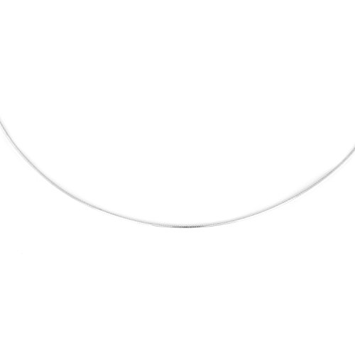 14k White Gold 1mm Omega Chain Necklace with Screw Off Lobster Lock, - 14k Necklace Gold Omega White
