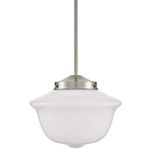 Lavagna Schoolhouse Pendant - Brushed Nickel w/Milk Glass Shade - Linea di Liara LL-P272-MILK-BN (School House Lights Pendant)