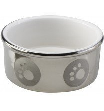 Ethical Pet Products (Spot) DSO6828 Stoneware Paw Print Dog Dish, 5-Inch, Titanium