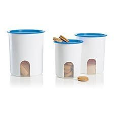 (Tupperware Reminder Canister Set of 3 in Raindrop Blue)