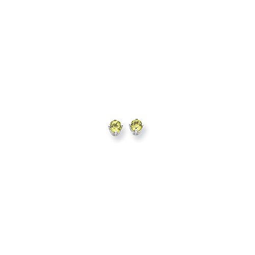 Perfect Jewelry Gift 14k White Gold 4mm Peridot Earrings