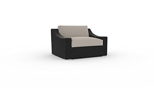 Toja Bretton Outdoor Patio Chair | Wicker Rattan Body with Sunbrella Cushions (Cast Ash)