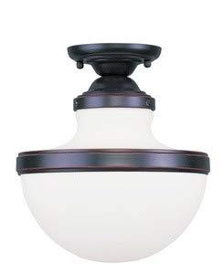 - Livex Lighting 5722-67 Oldwick - One Light Semi-Flush Mount, Olde Bronze Finish with Hand Blown Satin White Glass