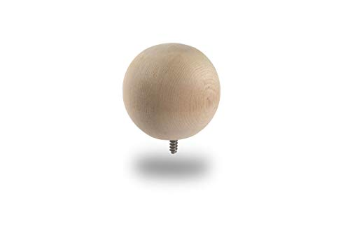 Woodway Finial Cedar Wood Ball with Lag Bolt for Fence Posts, Deck, and Patio Railings, 3 Inch Diameter 12-PC