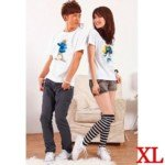 Lovely The Smurfs Style Cotton Lover's Short-Sleeve T-Shirt for Lady(1-Pack)-White/Size XL