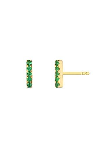 (Emerald bar stud earrings, 14k gold, Zoe Lev Jewelry )