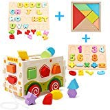 HM-TECH Wooden Shape Sorter Bus with Tangram & Number Puzzle Board & Alphabet Puzzle Board, Classic 3D Push Pull Truck Toy for Toddlers & Baby Color Recognition and Geometry Learning
