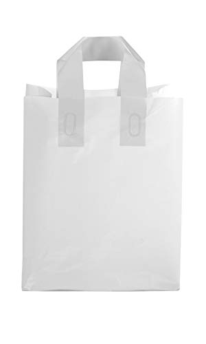SSWBasics Medium Clear Frosted Plastic Shopping Bags - 8