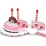 london-kate Deluxe Wooden Birthday Cake Play Set - Wooden Play Food Dessert Birthday Party