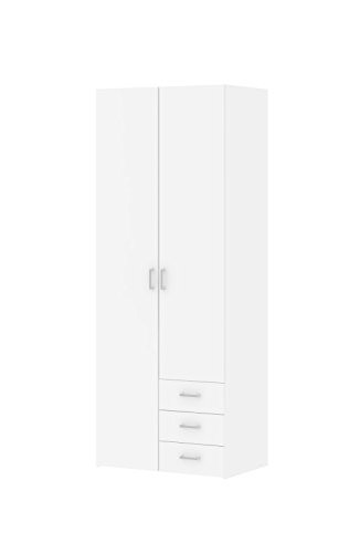 (Tvilum 704254949 Space 3 Drawer and and 2 Door Wardrobe, White)