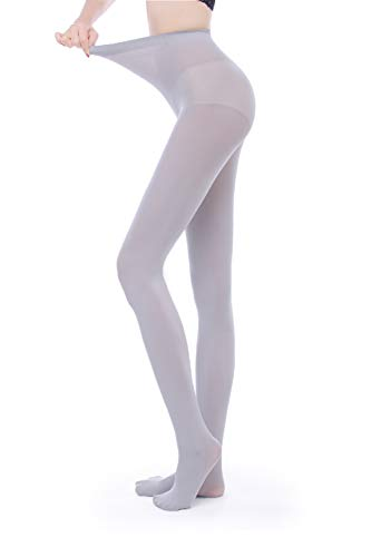 - Women's 80 Denier Semi Opaque Solid Color Footed Pantyhose Tights (L/XL, Gray)