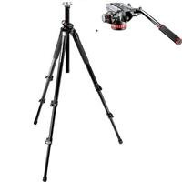 Manfrotto 055XPROB Black Aluminum Tripod with Manfrotto MVH502AH Pro Video Head with Quick-Release and Flat Base by Manfrotto