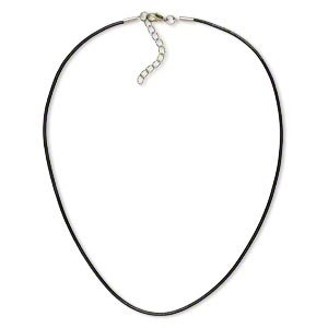 2mm Black Leather Cord Necklace Rope Chain with Stainless Steel Clasp - 18 - 20 inch - Cord Necklace Black 2mm Leather