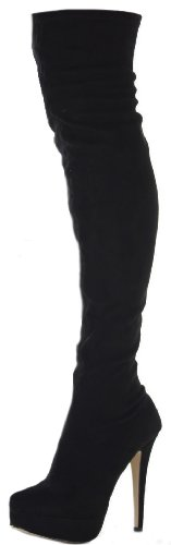 Womens Ladies Thigh High Over the Knee Winter Stretch Pull on Platform Stiletto Sexy Heel Knee Boots Size 3-8 Black Faux Suede