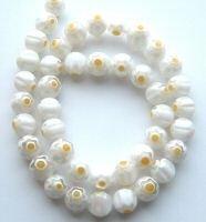 - M5 8mm Millefiori Lampwork Beads, 8mm White Single Flower