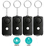 130dB Personal Alarm Keychain-LED Flashlight Gift for Women Teen Girls Kids Student Explorer Night Workers Emergency Human Voice Security Sirens System SOS Safety Self Defense Electronic Device (4pcs)
