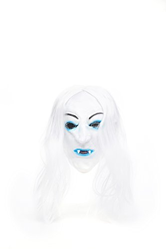 Adult Halloween Horror Vampire Dracula Face Mask Scary Party Role Play With Wig (Snow-white, blue, black) (Disfraz Para Halloween Zombie)