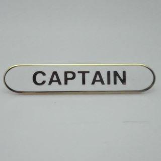 Captain Enamel School Bar Badge - White - Pack of 10