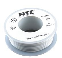 NTE Electronics WH24-09-25 Hook Up Wire, Stranded, Type 24 Gauge, 25' Length, White