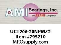 AMI UCT206-20NPMZ2 1-1//4 ZINC WIDE SET SCREW NICKEL TA BALL BEARING
