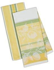 - DII Kitchen Dish Towel Set 2 Riviera Lemons Yellow Green Includes 1 Lemon Print & 1 Stripe