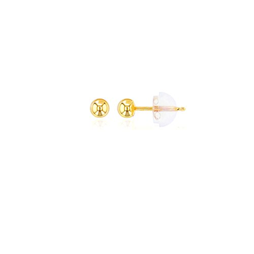 14K Yellow Gold 3MM Ball Stud Earring (Tiffany Set Stud)
