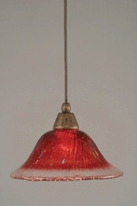 Toltec Lighting 22-BRZ-736 Cord Mini-Pendant Light Bronze Finish with Raspberry Crystal Glass, 10-Inch (10 Pendant Light Mini)