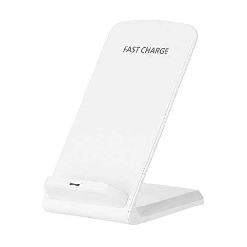 Exteren Wireless Charger, 10 W Qi Wireless Fast Charger Charging Pad Stand Dock Samsung Galaxy S10 S10+ (White)
