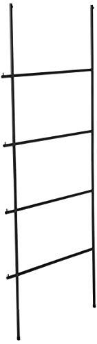 Stimber Design Robert Blanket Ladder | Quilt Ladder | Towel Ladder for Bathroom | Black Decorative Display Ladder | Hooks on The Side | 70.9