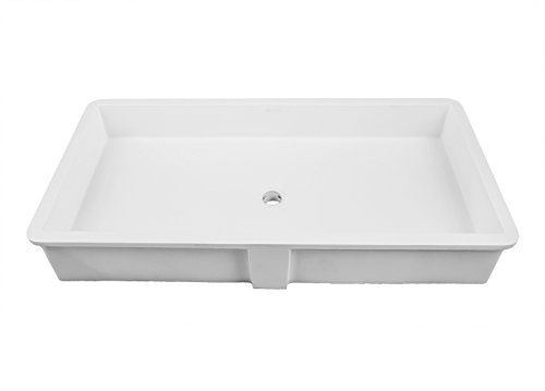 DECOLAV 1839-34-SSA Sacha Solid Surface Rectangular Undermount Lavatory Sink, 34-Inch, -