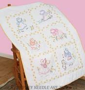Jack Dempsey Stamped White Lap Quilt Top, 40 by 60-Inch, Sunbonnet Sue