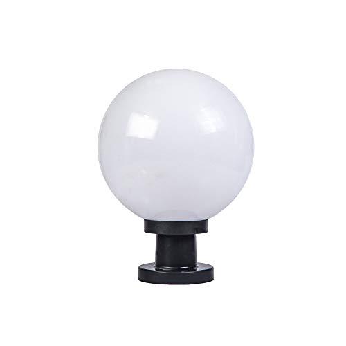 LifeX Outdoor Waterproof IP55 Pillar Post Lamps Rainproof Globe Column Light Lantern Acrylic Ball Courtyard Patio Porch Gate Street Lighting Fixture with White Lampshade (Size : Dia 20cm)