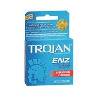 Trojan Enz Sprmcd Size 3s Trojan Enz Spermicidal Lubricant Latex Condoms 3ct