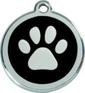 Hundemarke RedDingo Pfote schwarz M 30mm inkl Wunschgravur