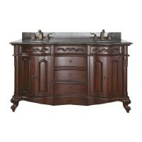 (Avanity Provence 60 in. Vanity with Imperial Brown Granite Top and Double Sinks in Antique Cherry finish)