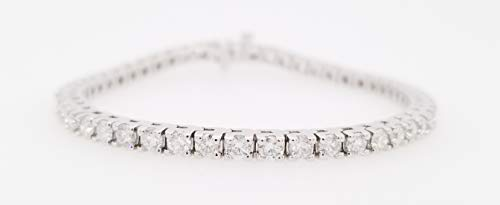 Round Diamond Classic 4 Prong Tennis Bracelet, 14K White Gold (G-H Color, SI2-I1 Clarity) (5.00)
