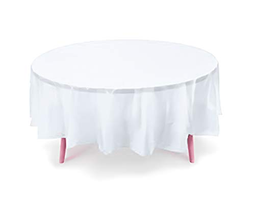 12-Pack Plastic Tablecloth - 84 in. Round Table Covers (White, 84 in. Round)