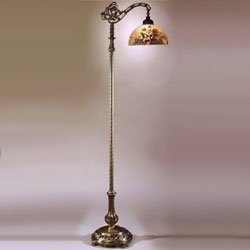 Dale Tiffany 10057/757 Rose Dome Downbridge Floor Lamp, Antique Bronze and Glass Shade Dale Tiffany Antique Floor Lamp