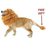 CPPSLEE Halloween Lion Mane Wig Costume - Make Your Dog Lion King - Adjustable Washable Comfortable Fancy Lion Hair Dog Clothes Dress for Halloween (A-Brown with Ear &