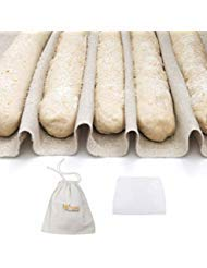 3-In-1 Set of Large Bakers Couche (35''x26'') + Dough Scraper + Linen Storage Bag - Professional Baguette Couche Baking Proofing Cloth - Rolling Dough Proofer Made of 100% Flax Linen Bread Cloche by 101KitchenEssentials