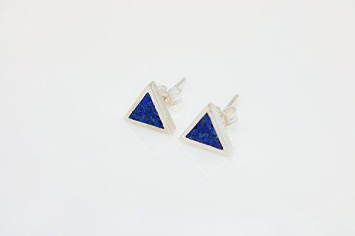 Aventurine Triangle Micro Mosaic Sterling Silver Stud Earrings, Semi Precious Gemstone by Handmade Studio - Lapis Lazuli Tiles