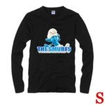 Cute The Smurf Style 100% Cotton Long-Sleeve T-Shirt-Clumsy Smurf Pattern/Size S