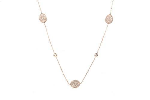 Long Collier disque ovale or rose