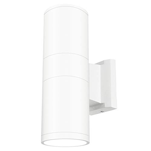 White Fixture - LED Outdoor Wall Sconce Light Cylinder Up Down Wall Lighting Exterior Patio Lamp 20W Waterproof IP65 (Daylight 6000K), 5 Years Warranty (20w Wall)