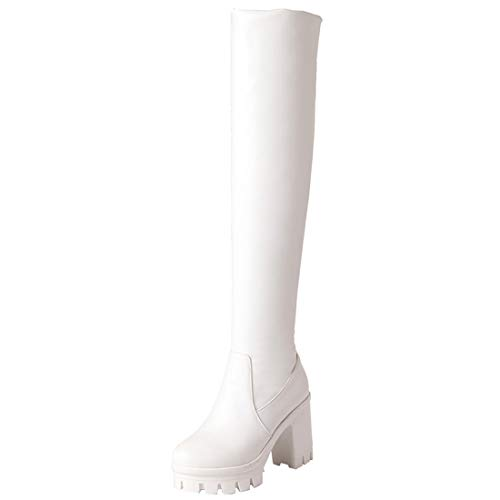 Vitalo Womens High Heel Over The Knee Platform Chunky Thigh High Boots Size 7 B(M) US,White