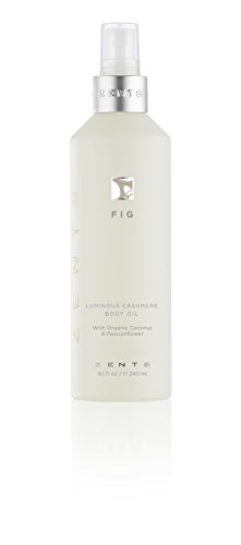 Zents Body Oil, Fig, with Organic Coconut Oil and Passionflower Cashmere Body Spray, 8.1 fl oz / 240 millileters